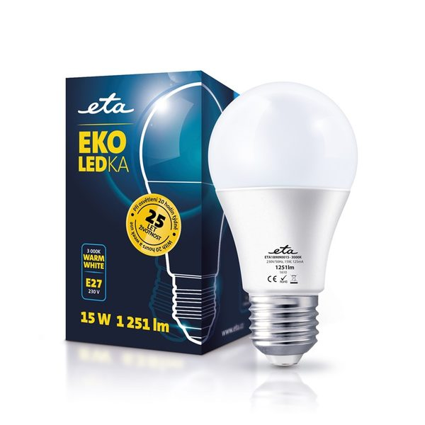 LED Bulb ETA ECO, classic, 15W, E27, warm white light