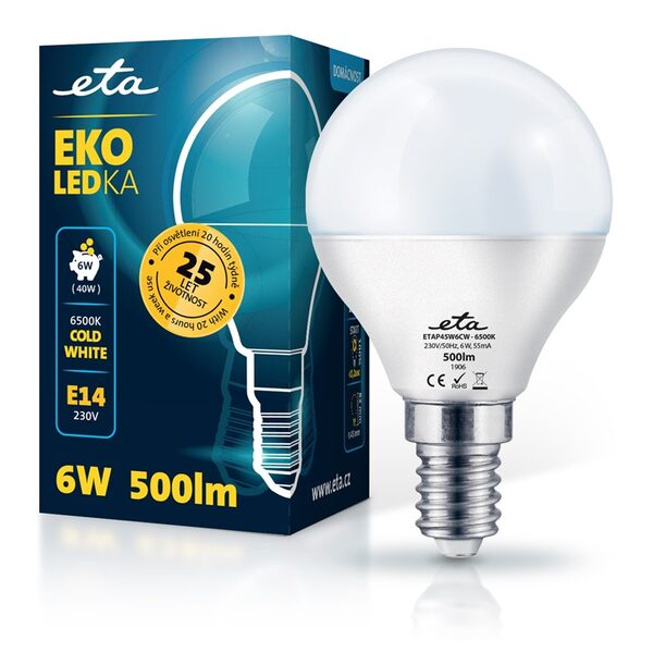 Bulb LED ETA EKO LEDka mini globe 6W, E14, cool white