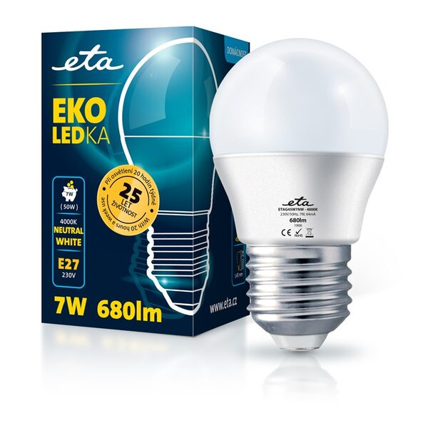 Bulb LED ETA EKO LEDka mini globe 7W, E27, neutral white