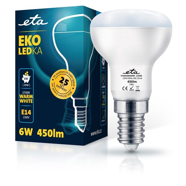 Bulb LED ETA EKO LEDka reflector 6W, E14, warm white