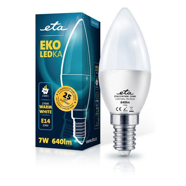 Bulb LED ETA EKO LEDka plub 7W, E14, warm white