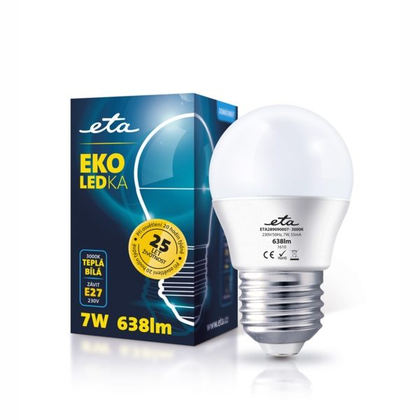 LED Bulb ETA ECO, mini globe, 7W, E27, warm white light