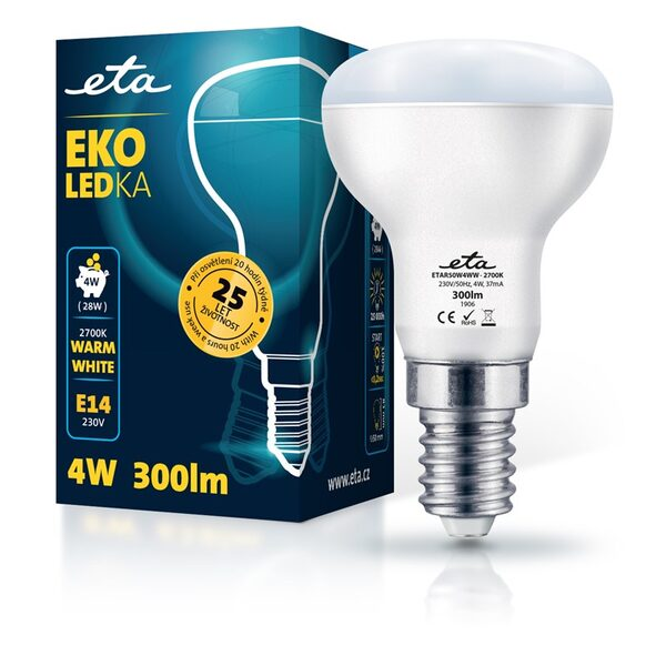 Bulb LED ETA EKO LEDka reflector 4W, E14, warm white