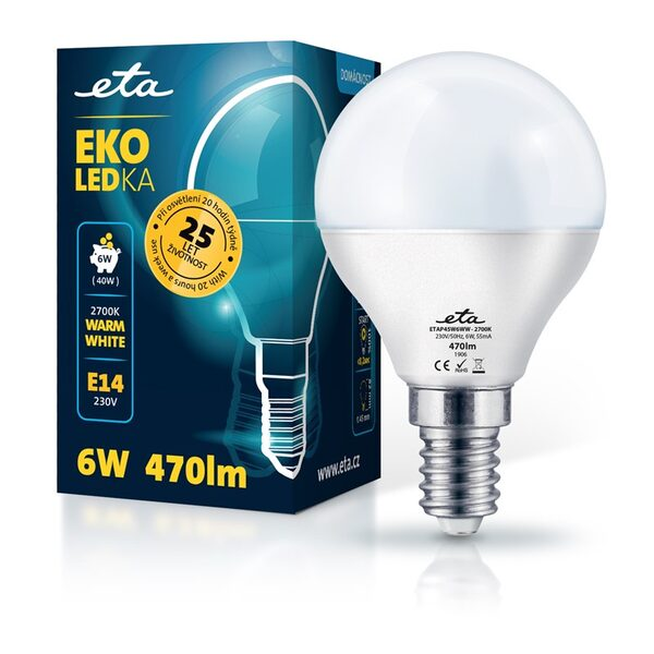 Bulb LED ETA EKO LEDka mini globe 6W, E14, warm white