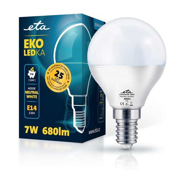 Bulb LED ETA EKO LEDka mini globe 7W, E14, neutral white