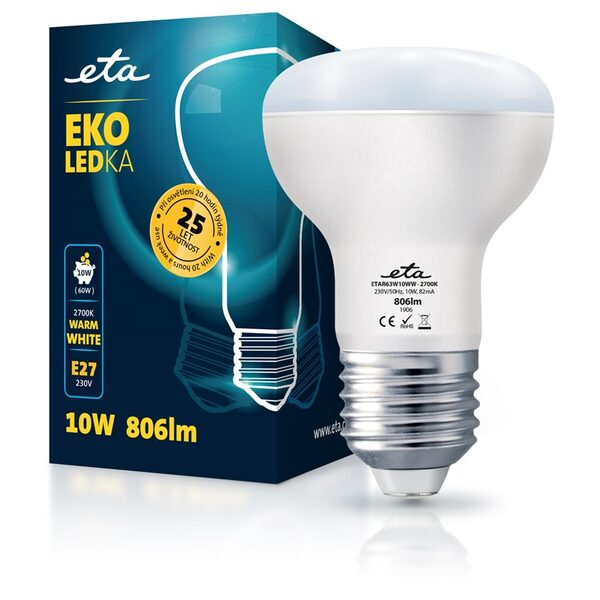 Bulb LED ETA EKO LEDka reflector 10W, E27, warm white
