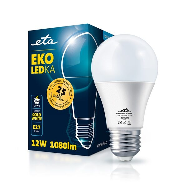 Bulb LED ETA EKO LEDka classic 12W, E27, cool white