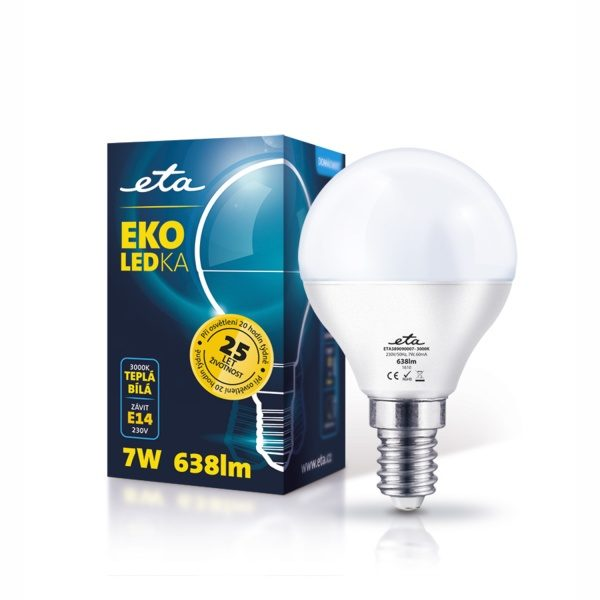 LED Bulb ETA ECO, mini globe, 7W, E14, warm white light